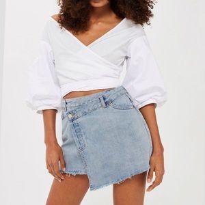 TOPSHOP Wrap Denim Skirt! US Size 14.